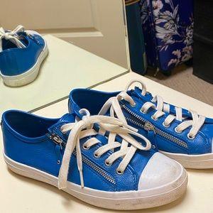 Coach blue pebble leather shoes. Size 8